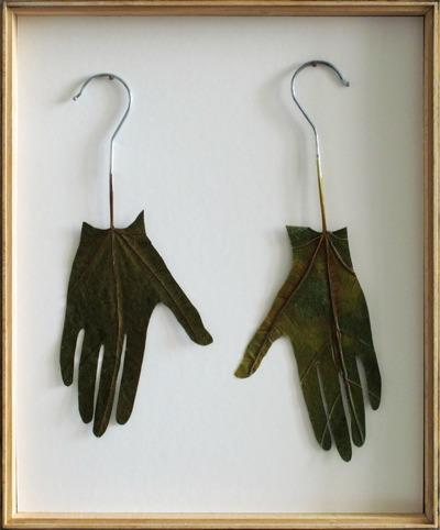 Isabel Schmiga, Slip , 2006, fig leaves, metal, 37 × 32cm